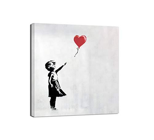 Canvashop Quadro Banksy Balloon Girl Quadri Moderni Soggiorno Quadrati Stampa su Tela con Telaio cm 40x40 Street Art Quadrati Piccoli Bansky opere Bambina con Palloncino