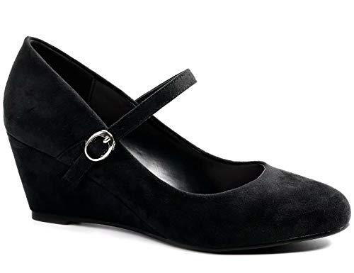 Greatonu Schwarze Damen Pumps mit Keilabsatz Mary Jane Office Schuhe Abendschuhe Dress Pumps, Schwarz M, 38 EU