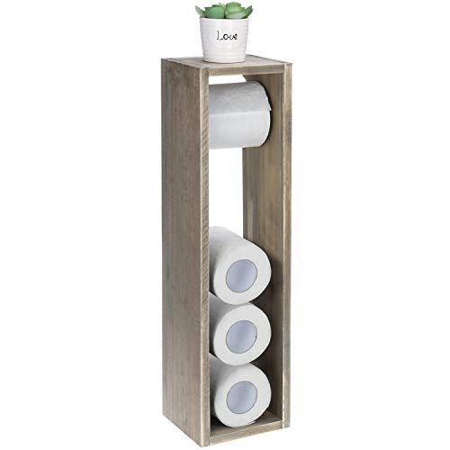 MyGift Rustic Grey Wood Toilet Paper Roll Dispenser