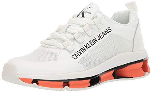 Calvin Klein Herren LEORY Turnschuh, Weißes Mesh-/Nappa, 44 EU