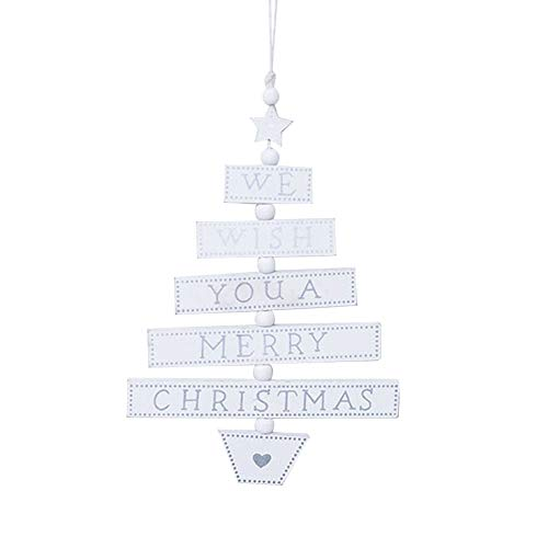 zhenleisier Christmas Decoration,Wooden Christmas Tree Shape Star Hanging Pendant Xmas Home Party Christmas Tree Holiday Bar Shop Carnival Ornament Decor White