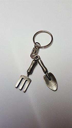 Tenedor y paleta DK14 hecho de peltre inglés fino en un llavero de anillo dividido