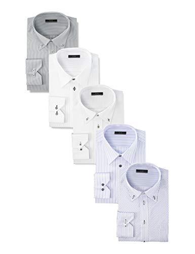 [アトリエサンロクゴ] ワイシャツセット ワイシャツ 5枚セット 形態安定 長袖Yシャツ ワークシャツ ビジネスワイシャツ at101 メンズ AT101-Dset 首回り51裄丈90 Regular