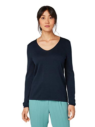 TOM TAILOR Damen Pullover & Strickjacken Pullover mit V-Ausschnitt Sky Captain Blue,M