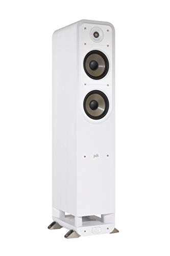 Polk Audio Signature S55E - Altavoz de pie (Hi-Fi, para música y Cine en casa, Altavoz pasivo de Rango Completo, 20-200 W, 8 ohmios, Alta Res, 40 Hz - 40 kHz) Blanco