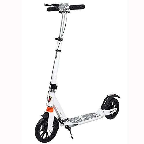 ZHZHUANG Portátil 2-Wheel Kick Scooter Urbano Viajero Adulto Adolescente Niños Altura Ajustable Scooter de la Rueda para Niños Y Adultos Principiante Scooter Clásico Liso,Blanco