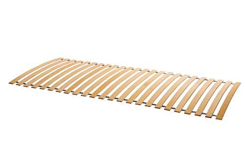 Naturamio Premium-Rollrost - 2 x 70cm - Neues Modell - Hochwertiger Doppelrolllattenrost aus 24 massiven Birkenholz-Federleisten - inkl. 12 Edelstahlschrauben-Lattenrollrost in Top-Qualität