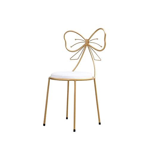 MZIKO Taburete de Hierro de Estilo Moderno Simple de Oro, Arco con Respaldo de la Silla de la Barra de la Altura del Respaldo Silla de Ocio del Maquillaje de la cafetería (Color : White)