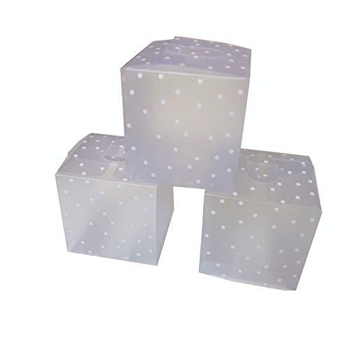 DIYARTS 50PCS Cubo Caja Dulces Cuadrada Translúcida PVC Punto Transparente para Chocolate Paquete Regalo Pequeño Cajas Favor Boda (6 * 6 * 6cm)