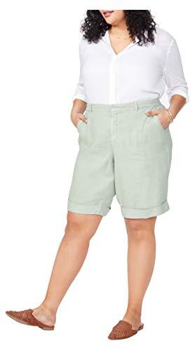 NYDJ Women's Plus Size Bermuda Stretch Linen Shorts, Desert Willow, 28W