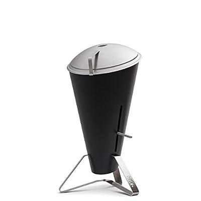 höfats - CONE Holzkohle-Grill und Feuerkorb mit Deckel - stufenlose Hitzeregulierung - Design-Grill aus Edelstahl - schwarz