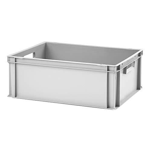 Euro-Stapelbox EB-622, 600x400x220 mm (LxBxH), grau ähnl. RAL7001, aus Polypropylen, lebensmittelecht, 2 Handgriffe, ca. 45 Liter Vol.