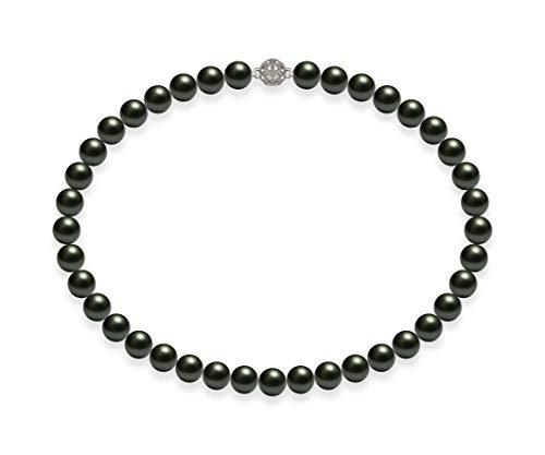 Schmuckwilli Damen Muschelkernperlen Perlenkette Grün Schwarz Magnetverschluß echte Muschel 45cm dmk1003-45 (10mm)