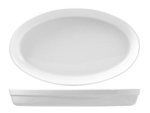 no brand Roma Plat Ovale en Porcelaine Blanc, 42 cm