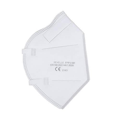 FFP3 Atemschutzmaske 10 Stück Packung DEVELLE Schutz Maske mit CE Zertifizierung und Kopfband - 4