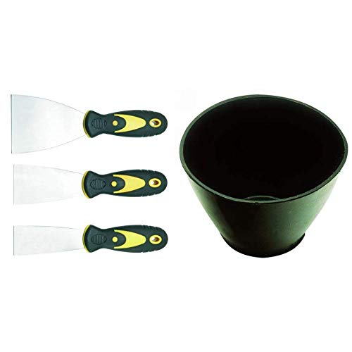 CON:P B27653 Spachtelsatz Edelstahl, 3-teilig & Haromac 38350000 Gipsanrührbecher, konisch, oval, Gummi, flexibel