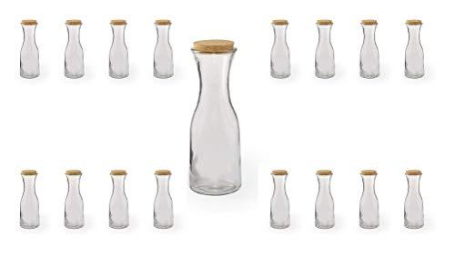 Lote de 20 jarras de cristal con tapón de corcho ecológico, 1 litro   Original y elegante   Juego especial para restaurantes / bares / empresas