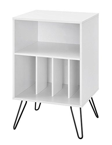 Novogratz Turntable Concord Plattenspieler Ständer, Holz, Weiß, 45.7 x 52.57 x 86.6 cm