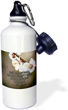 Frases sobre la vida Sakura Cherry Flowers Adam Lindsay Gordon cita no te preocupes por la botella de agua de aluminio para deportes, senderismo, gimnasio, escuela, camping, botella de agua para hombres, mujeres, niños
