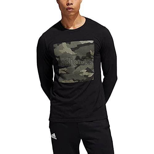 adidas Mens Long Sleeves Shirt (Black/Camo, Large)