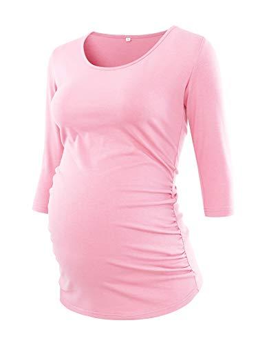 Love2Mi Damen 3/4 Ärmel Seite Geraffte umstandsshirt Top Umstandsmode Kleidung, Rosa, S