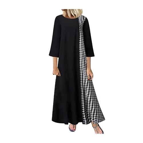 N\P Vestido largo de las mujeres del tamaño grande del remiendo de la tela escocesa/de las mangas del O-cuello