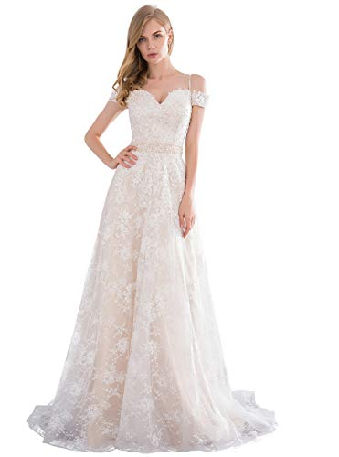 Lover Kiss Off Shoulder Long Wedding Dresses for Women 2020 Beaded A-Line Lace Bridal Gown Champagne