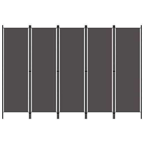 Tidyard Paravento a 5 Pannelli Antracite 250x180 cm,Separé per Interni, Divisorio per Stanze, 5 Ante