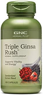 GNC Herbal Plus Triple Ginsa Rush California Only 100 Capsules Supports Vitality and Energy product image