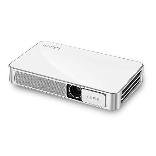 vivitek Qumi Q3 Plus, kompakter LED-Projektor im Taschenformat mit integriertem Akku, 500 Lumen, Wireless, 1280x720 Pixel, 8GB interner Speicher, HDMI und USB Eingang, weiß