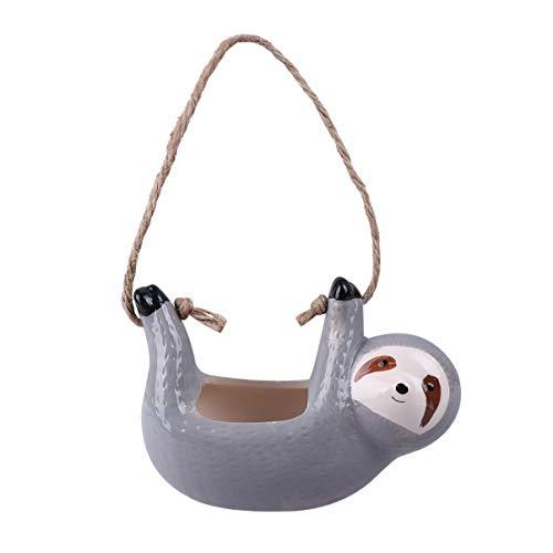 DOITOOL - Macetero colgante de perezoso pequeño de cerámica suculenta para plantas, maceta de porcelana, para decoración del hogar, oficina, color gris