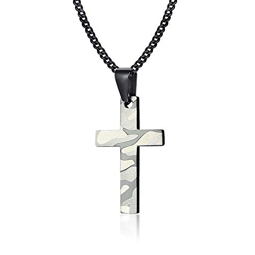Stainless Steel Soldier Camouflage Cross Necklace Pendent Army Special Forces Necklace Pendent for Men Boy