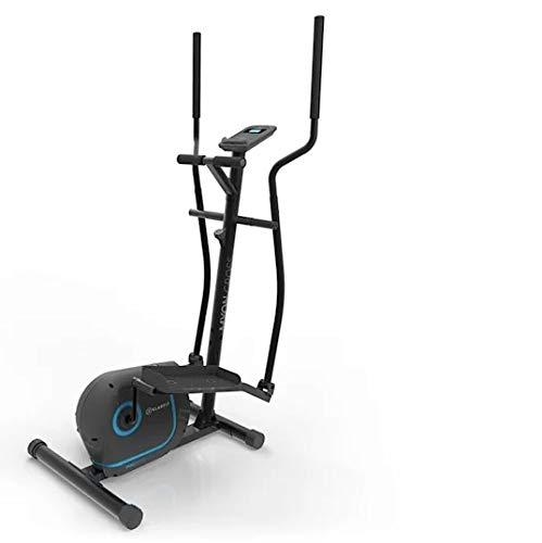 Klarfit Myon Cross - Bicicleta elíptica, 8 niveles de resistencia, Volante de inercia de 12kg, Pantalla LCD, Accionamiento por correa silencioso, Pulsómetro, Protección para el suelo, Antracita