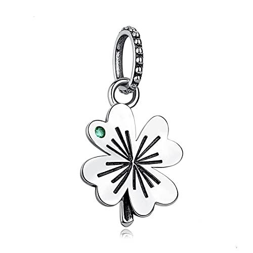S925 Plata De Ley Lucky Four Leaf Clover Beads Colgante De Cristal Verde Ajuste Original Pandora Pulsera Pulsera Collar DIY Regalo De La Joyería