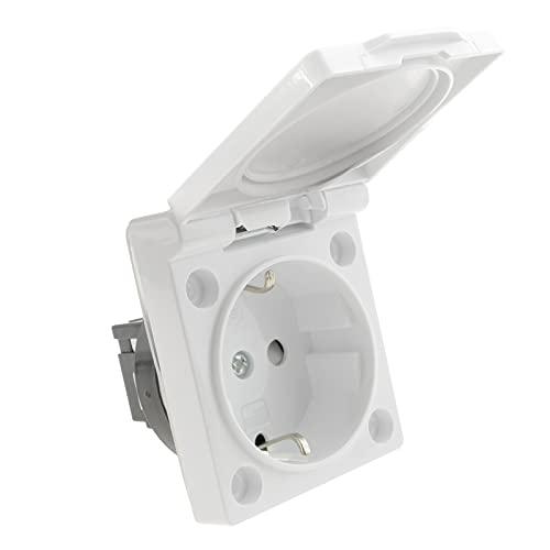 BeMatik - Presa schuko da Incasso IP44 Vite con Coperchio Bianco