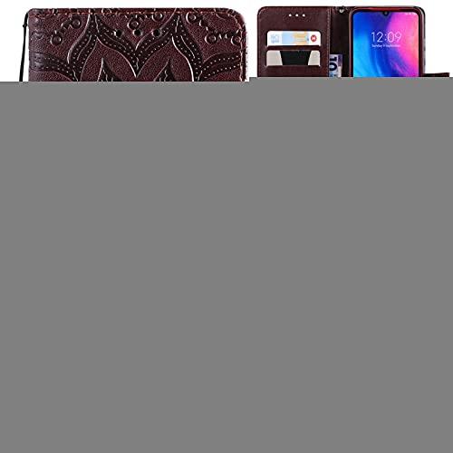 Liluyao Funda telefónica para Xiaomi Estuche de Cuero con diseño Horizontal para Xiaomi Redmi Note 7, con Ranura para Tarjetas y Soporte, Billetera y cordón (Color : Brown)