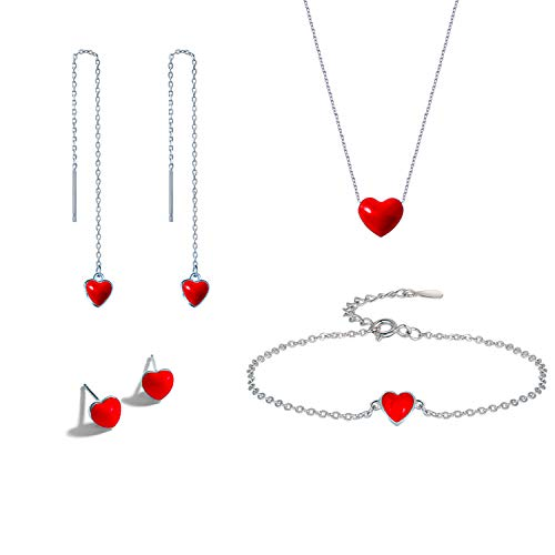 Juego de collar de corazón rojo, plata de ley 925, aro, corazón redondo, collar/pulsera/pendientes, gargantilla de cadena ajustable para el día de la madre/mujeres/niñas/hijas, 4 unidades