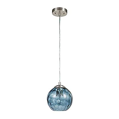 """Catalina Lighting 22158-000 Contemporary Small Hammered Glass Mini Pendant Ceiling Light, 69"""", Blue"""