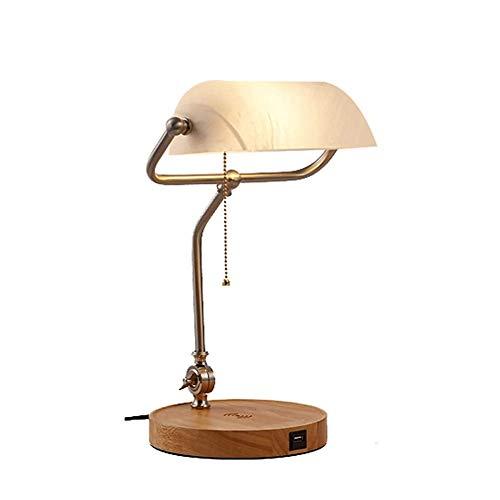 LLYU USB-oplaadstandaard tafellamp decoratieve verlichting banker lichten draadloze LED bureaulamp opladen QI draadloze ondersteuning marmer imitatie glas display