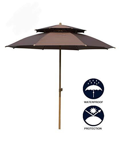 Panbay Valentine's d 8Ft Sunbrella Market Beach Umbrella Patio Outdoor Table Umbrella with Tilt Bonus Weatherproof Cover with Polyester Canopy Portable for UV Protection UPF 50+ (Sunbrella light blue)