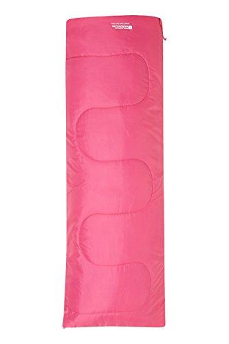 Mountain Warehouse Basecamp 200 Camping-Minischlafsack - 160 x 65 cm, pflegeleichtes Camping-Kinderschlafsack leicht zu verstauendes Reisebett, isoliert- Gut für Kinder leuchtendes Pink Einheitsgröße