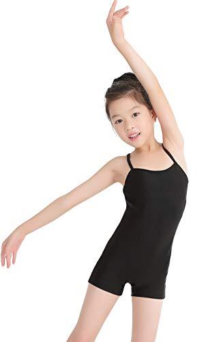 Speerise Kids Girls Nylon Spandex Unitard Sleeveless Gymnastic Biketard, Black, 4-6