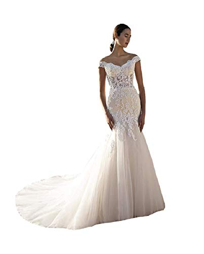 Elegant Ivory Wedding Dresses for Womens 2021 Trumpet Sweetheart Off Shoulder Soft Tulle Bodice Bridal Gowns 18 Plus