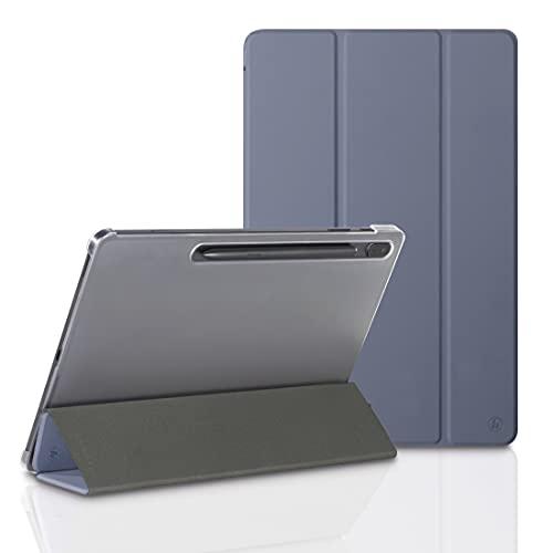 Hama Funda para Samsung Galaxy Tab S7 FE/S7+ 12,4 Pulgadas (Funda con Tapa para Samsung Tablet, función Atril, Parte Trasera Transparente, Cubierta magnética), Color Lila