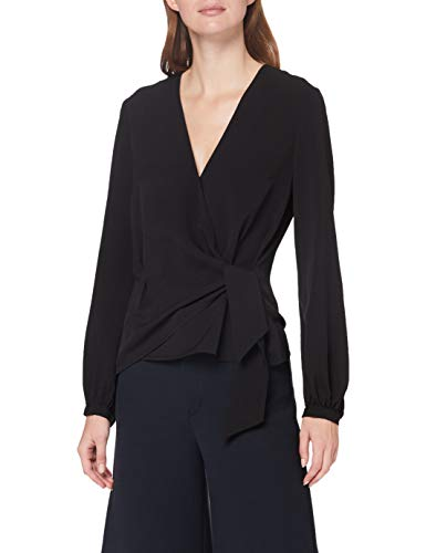 French Connection Damen Crepe Light Long Sleeve WRAP Over TOP Bluse, Schwarz, 38