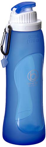 Biaggi Luggage Outdoor Collapsible Silicone Water Bottle with Clip, Easy to Clean and Store, Ocean Blue, One Size
