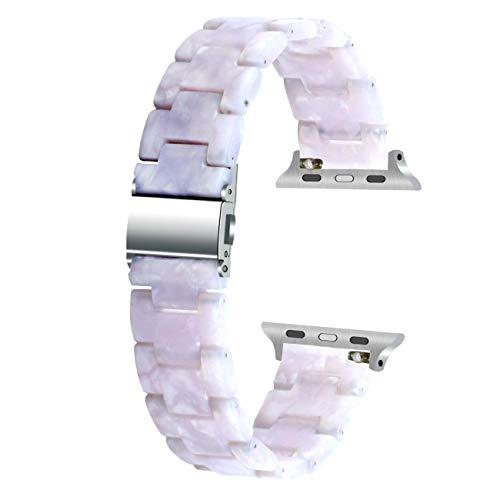 Juntan - Correa de resina para reloj (38 mm, 40 mm, 42 mm, 44 mm, compatible con iWatch SE y Series 6, 5, 4, 3, 2 1, color blanco (plateado y plateado, 40 mm/42 mm)