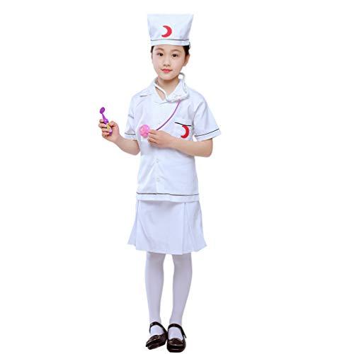 Traje de Cosplay de Enfermera para Niños Bata de Laboratorio Trajes de Juego de Roles para Niños con Estetoscopio (Adecuado para 110-130 Cm de Altura)