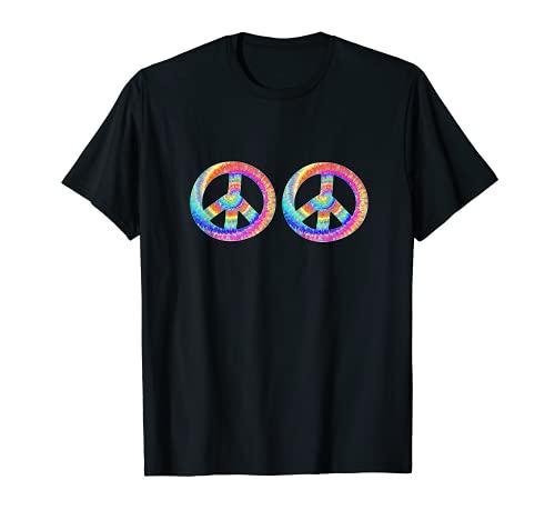 Camisa con aspecto de teñido anudado colorido arco iris Burst Peace Sign Boobs Camiseta