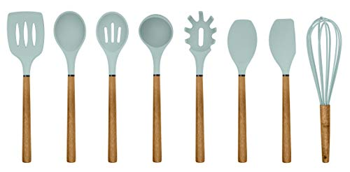 Country Kitchen Silicone Cooking Utensils, 8 Pc Kitchen Utensil Set, Easy to Clean Wooden Kitchen Utensils, Cooking Utensils for Nonstick Cookware, Kitchen Gadgets and Spatula Set - Mint Green